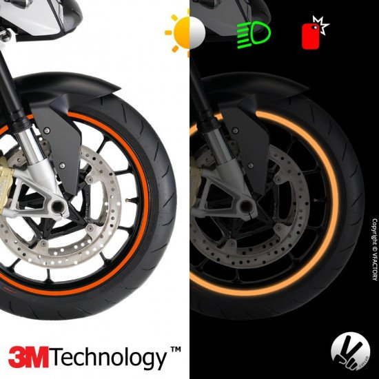 "CIRCULAR™ wheel stripes for 15 to 19"" motorcycle rims - retro reflective - 3M Technology™"