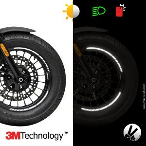 "GP DESIGN™ wheel stripes for 13 to 15"" motorcycle rims - 3M™ retro reflective"