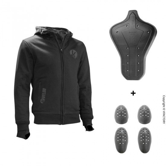 FULL PROTECT SWEATSHIRT™ - The comfortable black protective hoodie for motorcyclists - SAS-TEC™ level 2 integral protections