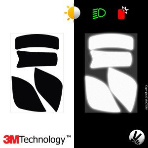 Reflective sticker kit ROOF DESMO™ - 4 self-adhesive strips for motorcycle helmets adaptable multi-model -3M Technology™