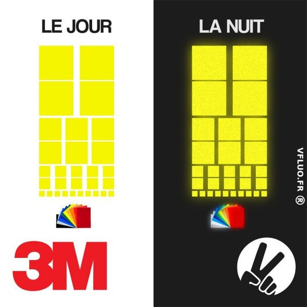 3M™ Reflective stickers kit for Motorcycle Helmet - Black & Colors - SQUARE 2
