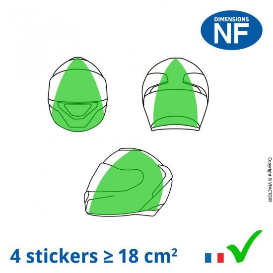 VFLUO BLACK OVAL™: kit of 4 black stickers for helmet, retro reflective in white in their packaging - 3M Technology™