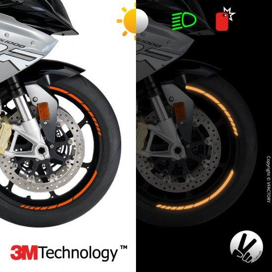 "GP DESIGN™ wheel stripes for 16 to 18"" motorcycle rims - 3M™ retro reflective"