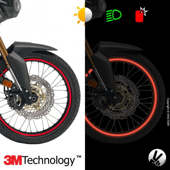 """CIRCULAR™ wheel stripes for 20 to 24"""" motorcycle rims - retro reflective - 3M Technology™"""