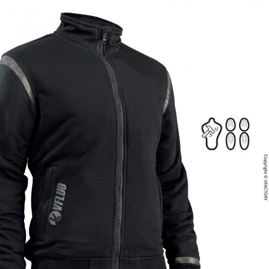 FULL PROTECT CITY CHILL™ - Le sweat noir confortable de protection pour Motard - Protections intégrales SAS-TEC™ de niveau 2