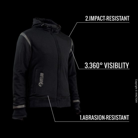FULL PROTECT STREET CHILL™ - The comfortable kevlar hoodie for your motorcycle rides with or without approved protectors