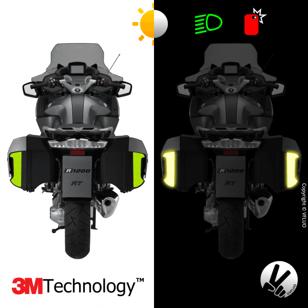 Kit 3M™ - BMW suitcases R1200RT / K1600GT / K1600GTL - fluorescent yellow sticker - retro reflective